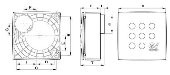 Bathroom Fan Duct Fan Quadro Micro 100 Surface Mount 90